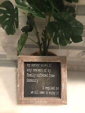 rustic wood sign home decor Family Insanity Joke Novelty Saying Farmhouse Gift