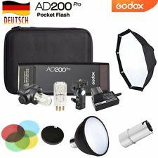 DE Godox AD200pro TTL HSS 2,4G 1/8000 2900mAh Li-ion Blitzgerät+AD-S Zubehör