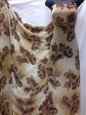 Designer Being / Brown   Chiffon Paisley /Floral Print Fabric wedding light