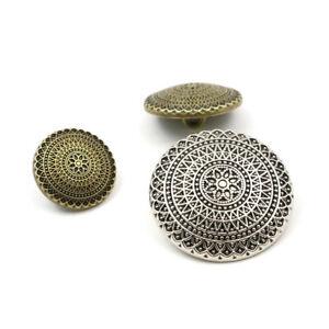 10 pcs Vintage Metal Button 1-Hole Flower Pattern Shank Buttons For Jean Coat