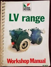 LISTER PETTER, DIESEL ENGINE, LV RANGE 1 & 2 ENGINE WORKSHOP MANUAL