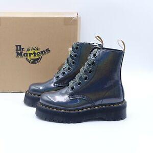 Size 8 Women's Dr. Martens Vegan Molly Combat Boots 26227029 Gunmetal/Prysm