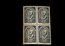 Vintage Stamp, AUSTRIA, DEUTSCH ÖSTERREICH,1919 BLOCK OF 4,MNH, #AT 215,Posthorn