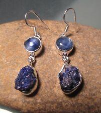 Sterling silver chunky blue kyanite, & rough lapis lazuli earrings. Gift Bag.