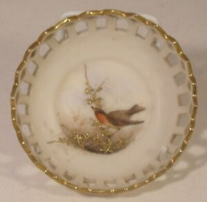 Grainger Worcester Reticulated Hand Painted Robin Pin Dish