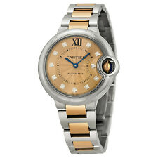Cartier Ballon Bleu Stainless Steel and 18kt Rose Gold Ladies Watch WE902053