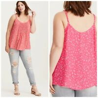 Torrid Floral Chiffon Tank Top Pleated Swing Cami Lightweight Sheer Women's 4x