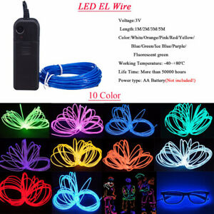 2M Neon LED Light Glow EL Wire String Rope Tube Decor Party Battery Controller