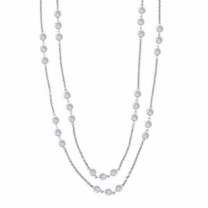 Two Layer By The Yard Solid 925 Sterling Silver Necklace Link Chain Bezel New