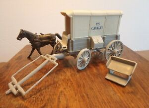 Marx U.S. Cavalry Square Top Cargo Wagon or Ambulance, hitch, seat and one horse