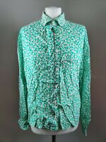 Vintage Women's Blouse Green Floral Print Ditsy Collar Button Blogger Retro 14 L