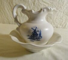 VTG. McCoy pitcher & bowl set-white w/ blue windmills-1 very small flea bite-VGV