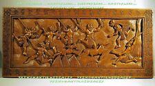 Panneau bois sculpté CHASSE A L'ANTILOPE art africain 90x41,8cm