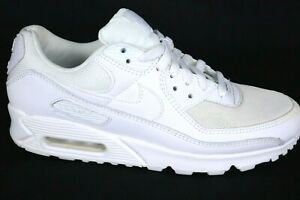 Nike Air Max 90 Triple White Leather Sneakers CN8490-100 Men's Size 10