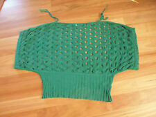 LADIES CUTE GREEN HOLEY SHORT SLEEVE KNIT TOP BY CROSSROADS SIZE L AUS 16/18/20