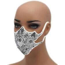 Tribal Flowers Blumen 60° waschbar Mehrweg Schutzmaske Damen Mundschutz Maske sw