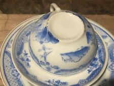 Vintage Japan Blue Willow Child's Demi China Toy Tea Cup Saucer & Dessert Plate