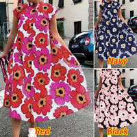 ZANZEA 8-24 Womens Loose Collared Floral Holiday Sundress Fit Short Sleeve Dress