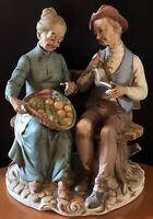 Napcoware  Porcellane D'Arte Figurine #8627  Old Man And Lady Bench