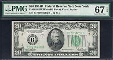 $20 1934D New York Frn. Fr. 2058-Bw. Bb Block. Pmg 67 Epq. Flawless Note.