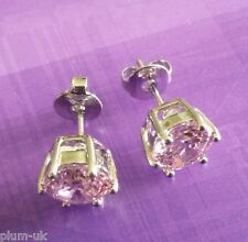 6-pin pink sapphire 18k WHITE GOLD filled 7mm round stud earrings BOXED Plum UK