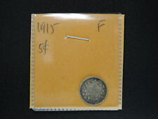 1915 5 Cent Coin Canada King George V Five Cents .925 Silver F Grade Key Date