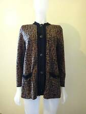 Exclusively Misook Women's Brown/Black Acrylic Knit Printed Jacket Size S