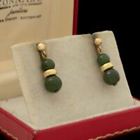 Antique Vintage Art Deco 14k Gold Filled GF Chinese Nephrite Jade Earrings 3.6g