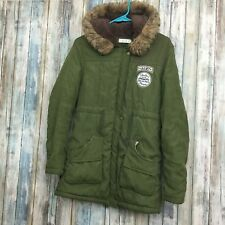 Z & I Mad For Fame Womens Large Army Green Faux Fur Hooded Parka Down Coat