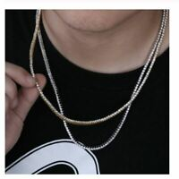 6.0Ct Round Cut Diamond Mens Tennis Necklace 14k Yellow Gold Over 925 Silver 3mm
