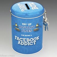 NOVELTY FINES FOR BEING A FACEBOOK ADDICT TIN MONEY BOX WITH LOCK,  FUN GIFT