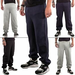 New Mens Ribbed Fleece Joggers Gym Jogging Bottom Loose Fit Sweatpants Trousers