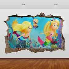 Barbie Dreamtopia Movie 3d Smashed Wall View Sticker Poster Art Decal 849