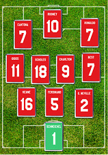 Manchester United Inspired Football Shirt Fridge Magnet Set Any Name And Number