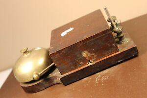 Antique Wood & Brass Servant Butler Electric Call Bell / Door Bell