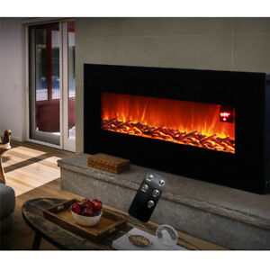 1800W Electric 30/50Inch Fireplace Suite LED Insert Wall Mounte Fire Log Burning