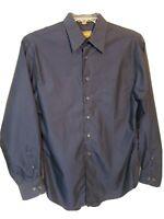 J. FERRAR Mens Button Down Dress Shirt Blue Black Long Sleeve Sz M/L 15.5-34/35