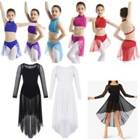 Kids Girls Lyrical Dance Dress Ballet Leotard Mock Neck Crop Top+Bottoms Outfit