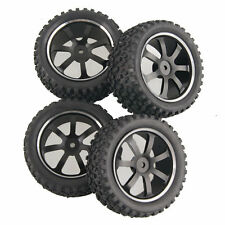 RC 2x Front & 2x Rear Aluminum Wheel Rubber Tires HSP 1:10 Off-Road Buggy S07H1