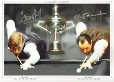 "SNOOKER CHAMPIONS-SIGNED 16x12"" PHOTO by STEVE DAVIS &  RAY REARDON-AFTAL/UACC"
