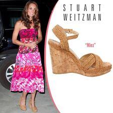 NIB $429 Stuart Weitzman Minx Espadrille Cork Wedge Sandal Shoes sz 8.5