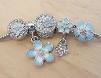 Teal White Magnolia Daisy CZ Flower Blossom Clip Stopper Bead European Charm set