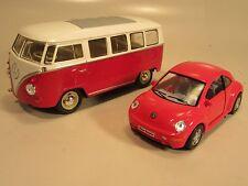 Diecast Volkswagen bus and new Beetle