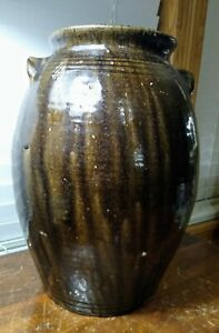 Antique Catawba Valley NC Four Gallon Pottery Alkaline With Heavy Runs Repaired