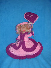 Miss Piggy in Hand Knitted Southern Bell Outfit Pink and Red Matching Umbrella