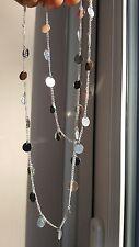 Trendy Simple Stylish Paillette Long Silver Color Chain Sequins Tassel Necklace
