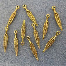 Antique Gold Alloy Metal Feather Charms 22 Pieces 4.5mm x 28.5mm   #0221