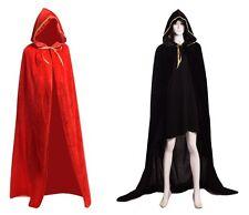Unisex Negro/Rojo Capa Con Capucha Bruja Vampiro Mago Cosplay De Halloween