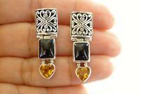 Black Onyx Yellow Citrine Heart Ornate 925 Sterling Silver Post Earrings