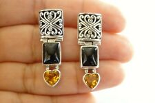 Black Onyx Yellow Citrine Heart Ornate 925 Sterling Silver Post Earrings